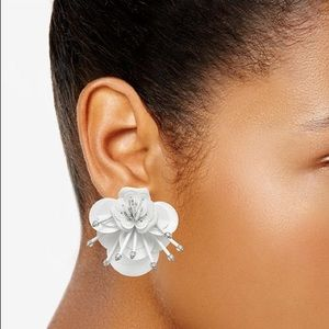 White leather flower earrings